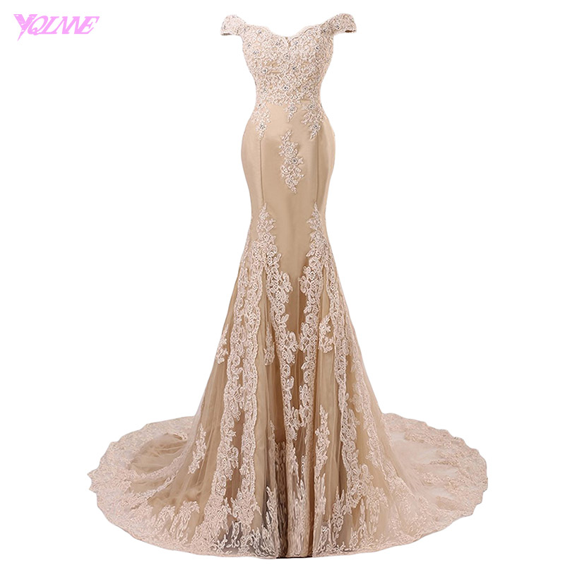 YQLNNE 2018 Off The Shoulder Mermaid Prom Dresses Long Champagne Lace Appliques Tulle Beaded Vestido De Festa