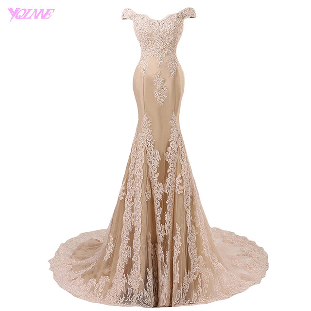 Champagne Mermaid Prom Dress