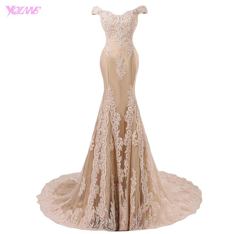 YQLNNE 2018 Off the Shoulder Mermaid   Prom     Dresses   Long Champagne Lace Appliques Tulle Beaded Vestido De Festa
