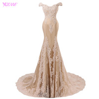 YQLAN Champagne Off The Shoulder Prom Dresses Long Mermaid Appliques Tulle Beaded Real Photos Vestido De
