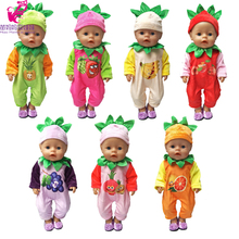 "43cm zapf Baby born doll cartoon fur clothes mono de la serie de fruta linda para 18 ""girl dolls outfits"