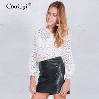 Glamaker Sexy White Black Lace Blouse Shirt Women Tops Elegant Hollow Out Blouse Summer Tops Female