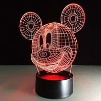 Mickey Mouse 3D Visual Led Sleeping Nightlight Touch USB Table Lampara Illusion Mood Dimming Lamp Atmosphere