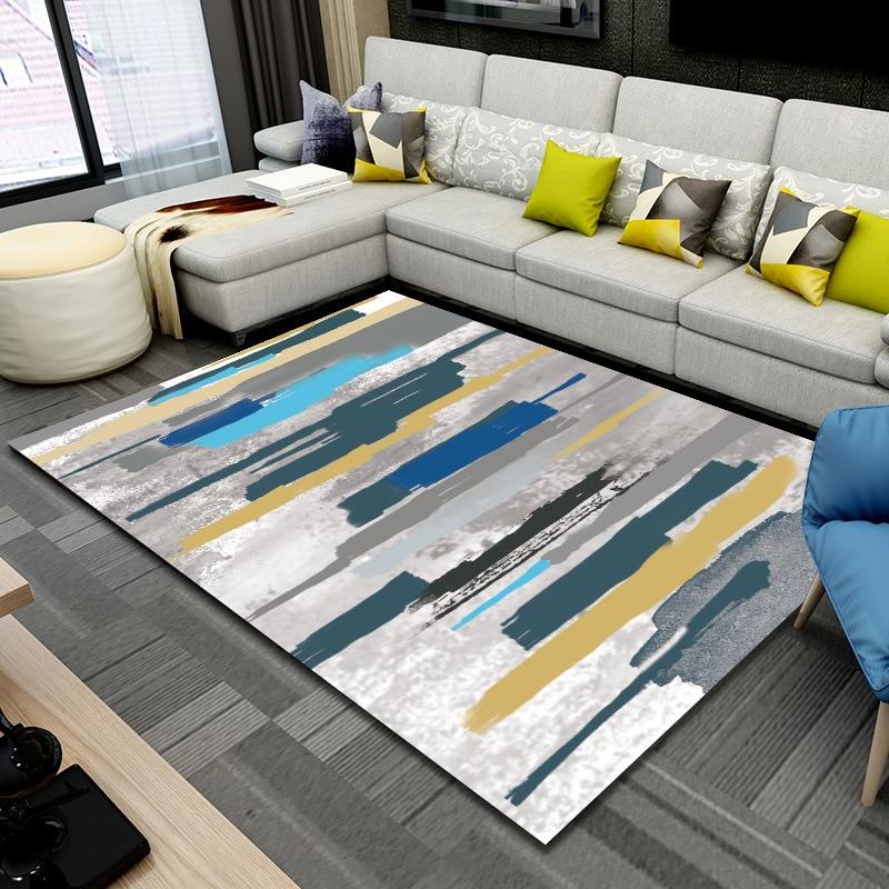 US $25.9 30% di SCONTO|LIU ART tappeto per soggiorno Semplice E moderno  camera da letto soggiorno divano tavolo tappeto tappeto Astratto bathmats  ...