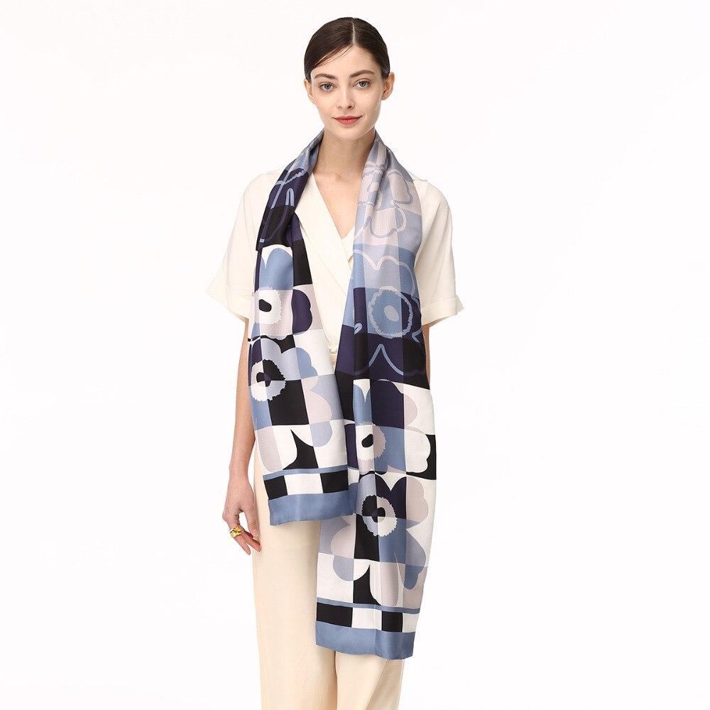 Fashion design women long scarf 100 silk twill double layer scarf elegant lady silk shawl muslim