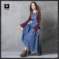 2017 Hot Sale Autumn Winter Women S Fashion Denim Folk Style Embroidery Long Vintage Dress Plus