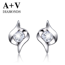 free shipping 18K white or  yellow or rose gold nature diamond classic stud earring for women engagement and anniversary