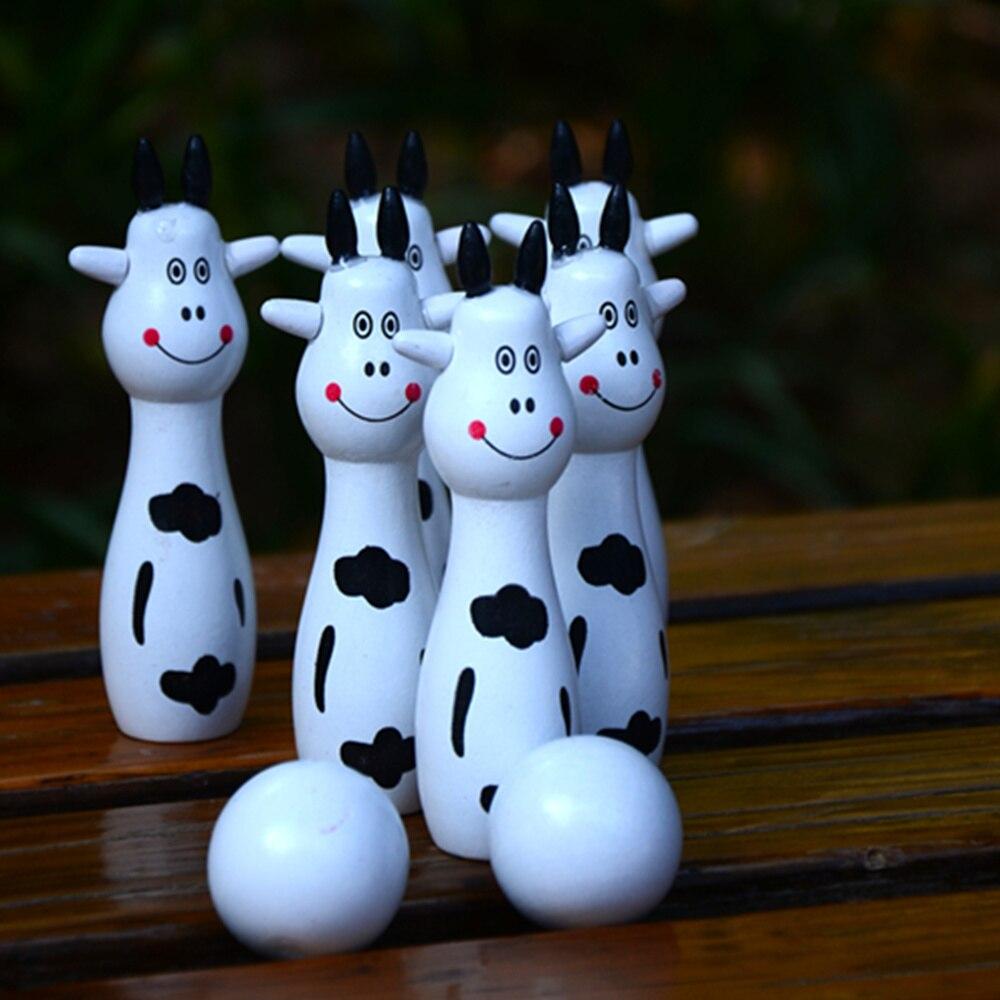 1 Set צעצוע עץ צעצועי עץ לילדים משחק ספורט באולינג עם נייד ילדי שקית נטו הדפסת בעלי החיים חמודה מקורה חיצוני משחקים