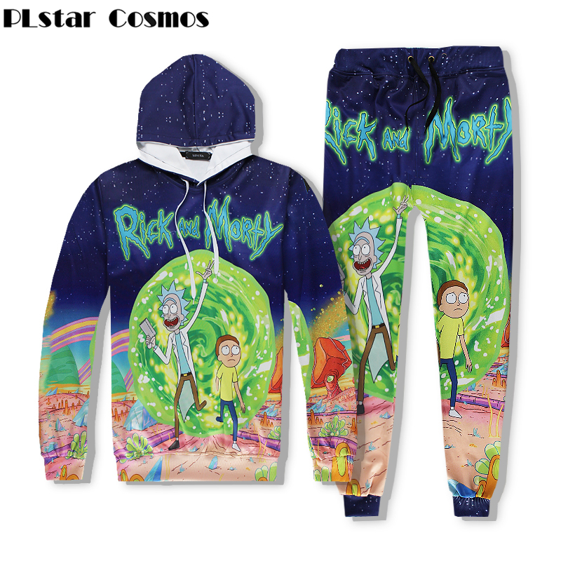 PLstar Cosmos 2017 Fashion Men/Womens 3d Sweatshirts Cartoon Rick And Morty 3d print Hoodies Sportswear+joggers pants Sets