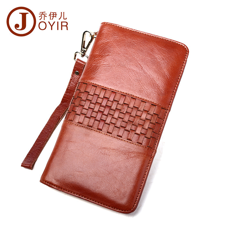 Genuine Leather Women s Wallets Coin Pocket Zipper Purses Handy Wristlet Money Bags Phone Travel Wallet