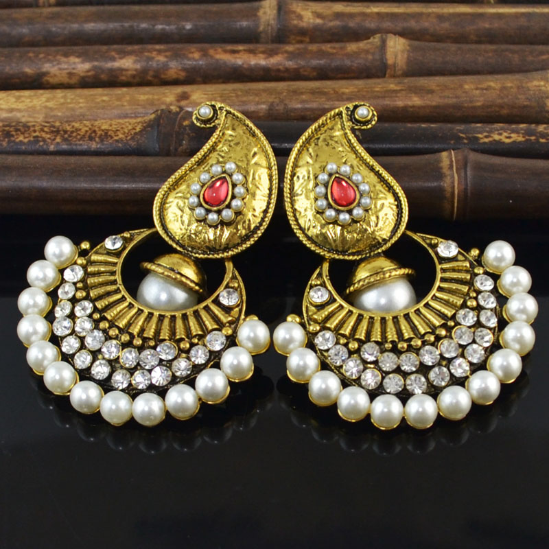 Antique Gold Indian Jhumki Jhumka Simulated Pearl Earrings Vintage Rhinestone Korean Fashion Bridal Wedding Party Jewelry Gifts in Drop Earrings from Jewelry Accessories
