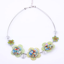 Bonsny Flowers necklace Spring style New 2016 iron fashion stone necklace & pendant for girls woman lovely chain necklace(China)