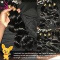 Бразильский Девственные Волосы 3 Пучки Объемная Волна С Закрытием Unice Tissagr Bresilienne Avec Закрытие HJ Красотки Weave Расслоения И Закрытие