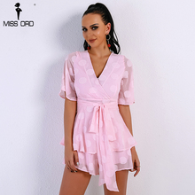 Missord 2018 Sexy Spring And Summer V Neck Rompers  Short Sleeve Belt Solid Color Women Casual Layers Playsuit  FT9066