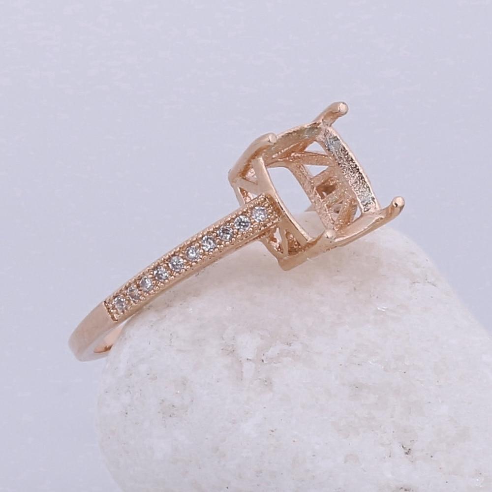 Твердые 10 К розовое золото природных алмазов Для женщин Обручение обручальное кольцо 7x7 мм Подушки полу гору ювелирных изделий Установка