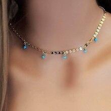 Gargantilla de piedras preciosas turquesas verdes Vintage de moda collar de regalo para novia collar minimalista Cadena de cobre collares para regalo de joyería
