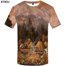 KYKU Indians T-shirt Men Wolf Tshirt Flame Funny T Shirts Forest 3d Mountain Print Shirt Cool Anime Mens Clothing Casual Tops