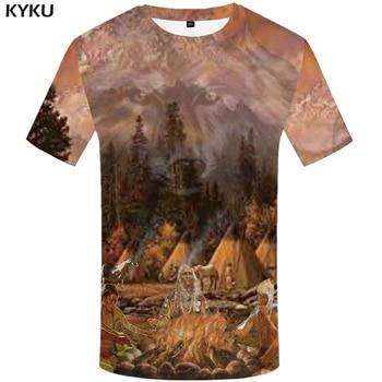 Kyku India Kaos Pria Serigala Tshirt Api Lucu Kaos Hutan 3D Gunung Cetak Kaos Anime Keren Pria Pakaian atasan Kasual