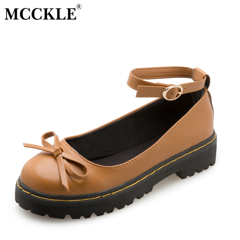 MCCKLE Female Bowtie Ankle Buckle Sewing Slip On Platform Mid Heels 2017 Women's Fashion Style Casual Black Autumn Lolita Shoes mcckle women high heels ankle boots female buckle slip on suede shoes woman platform spring autumn casual shoes black size 35 39