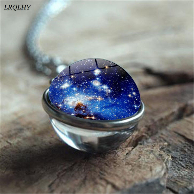 Sided Galaxy The Solar System Gem Glass Ball Pendant Retro Necklace Generous Simple Jewelry Wholesale Fashion 16mm Double Chain Necklaces Jewelry & Accessories