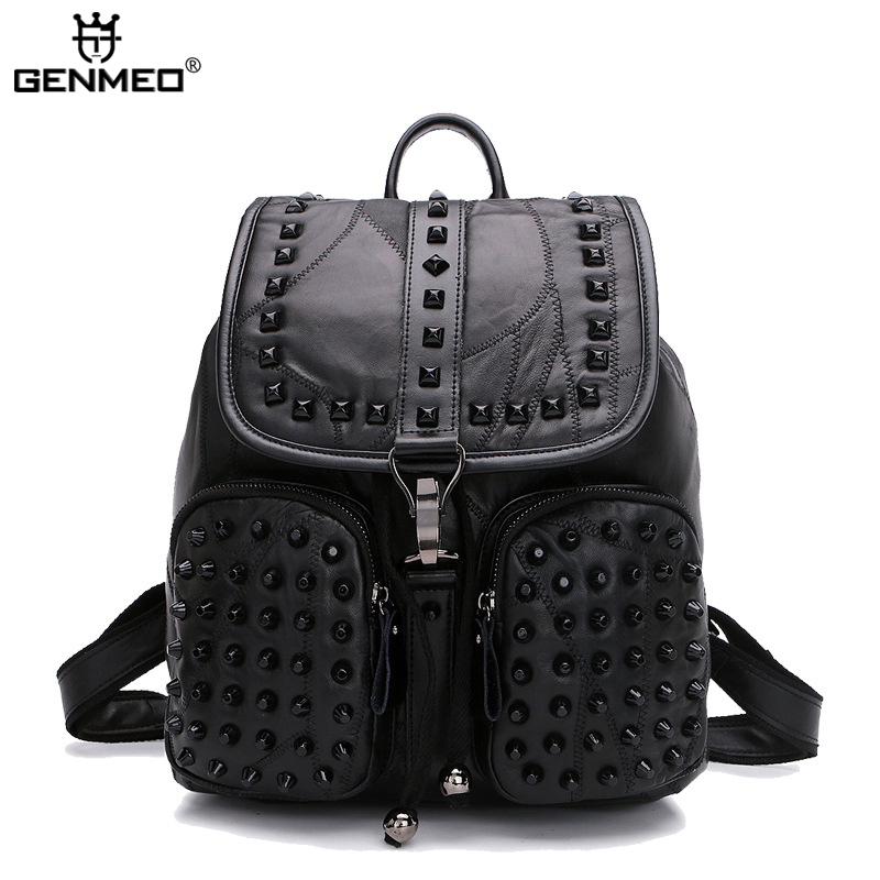 New Arrival Revit Sheepskin Leather Backpacks 2017 Famous Brand Design Genuien Leather Lady Backpack Double Shoulder Strap Bags 2017 new arrival leather backpack casual bags