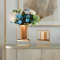 Floor Vases Table Metal Flower Vase Europe Gold Geometric Shape Road Lead Flower Holder Iron Art for Home Decoration Gifts G038
