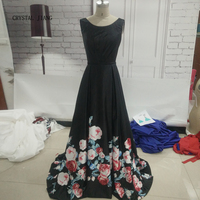 CRYSTAL JIANG 2018 Jewel Collar Black Top Pleated Custom made Lace up Back Floral Printed Sweep Train Evening Gowns Real Photo