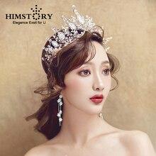 HIMSTORY Large Handmade Crystal Queen Princess Tiaras Crown Noble Rhinestone Diadem For Bride Girls Wedding Hair Accessories