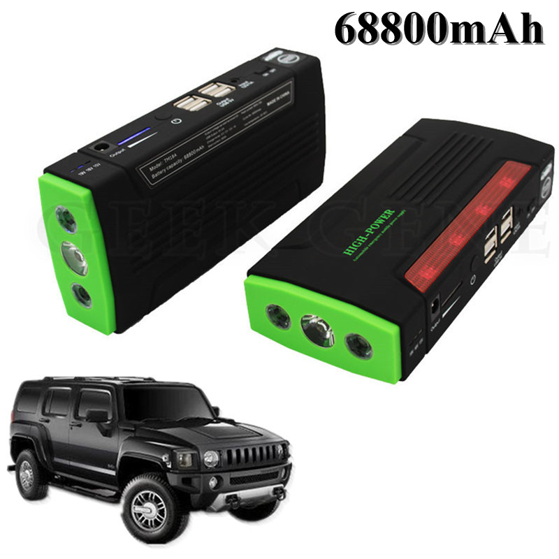 Car Jump Starter 68800mAh Portable Lighter 4USB Power Bank Car Charger For Car Battery Booster 600A Peak Starting Device Booster mini usb led lamp portable bendable keyboard usb light for ultrabook notebook laptop power bank adapter wall car charger