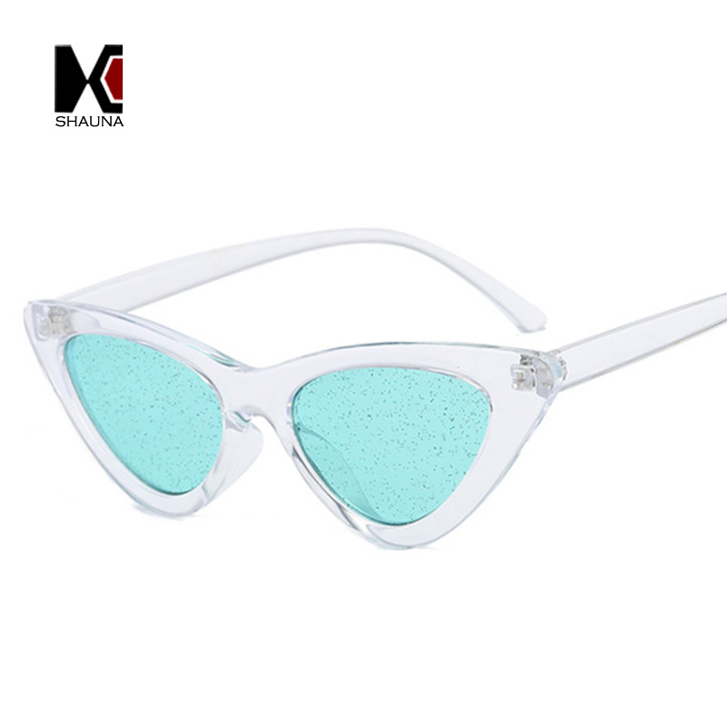 SHAUNA Classic Women Small Cat Eye Sunglasses Fashion Men Candy Colors Glitter Transparent Red Yellow Green Purple Glasses UV400 in Women 39 s Sunglasses from Apparel Accessories