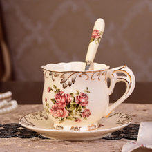 Nordic Coffee Cup Saucer Spoon Set British Ceramic Tea Cup mug blone china Tea cup Cafe Drinkware Cup saucer and spoon