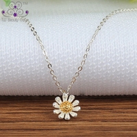 Genuine 925 Sterling Silver With Yellow Golden Color Vintage Sun Flower Pendants & Necklaces For Women Girls Wholesales Jewelry
