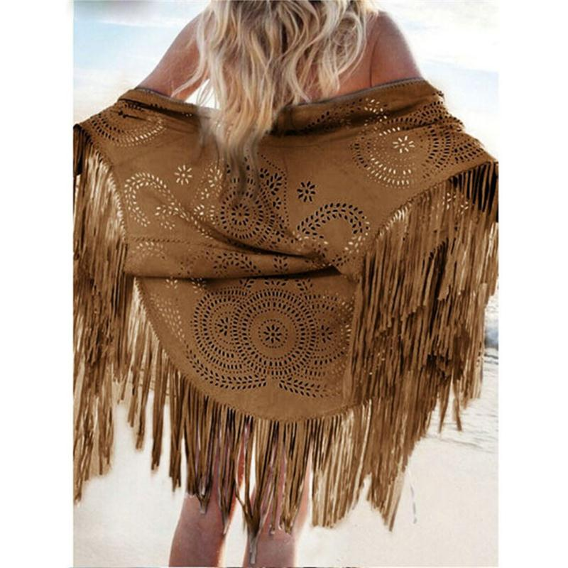 ed3e7a1ac998 Women Casual Tippet Faux Suede Leather Cut Out Summer Beach Cover Up Kimono  Long Fringes Tassels