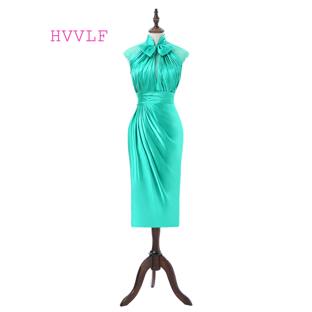 Green 2019 Elegant   Cocktail     Dresses   Sheath High Collar Cap Sleeves Knee Length Satin Lace Homecoming   Dresses