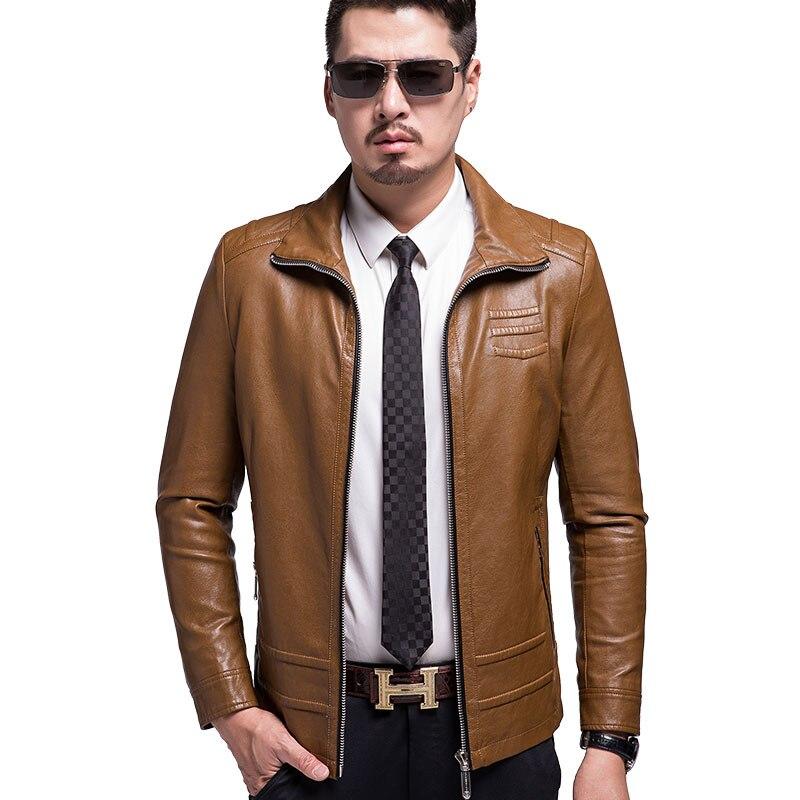 KUYOMENS Faux Leather Coat font b Men b font Fashion 2017 Autumn Winter font b Mens