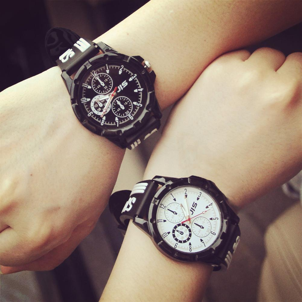 New Sport Couple Round Dial Arabic Numbers Silicone Strap Analog Quartz Wrist Watch