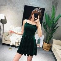 Women vintage slip strappy sleeveles A-LINE velvet mini dress chill posh cute edgy black casual summer dresses elbise jurken