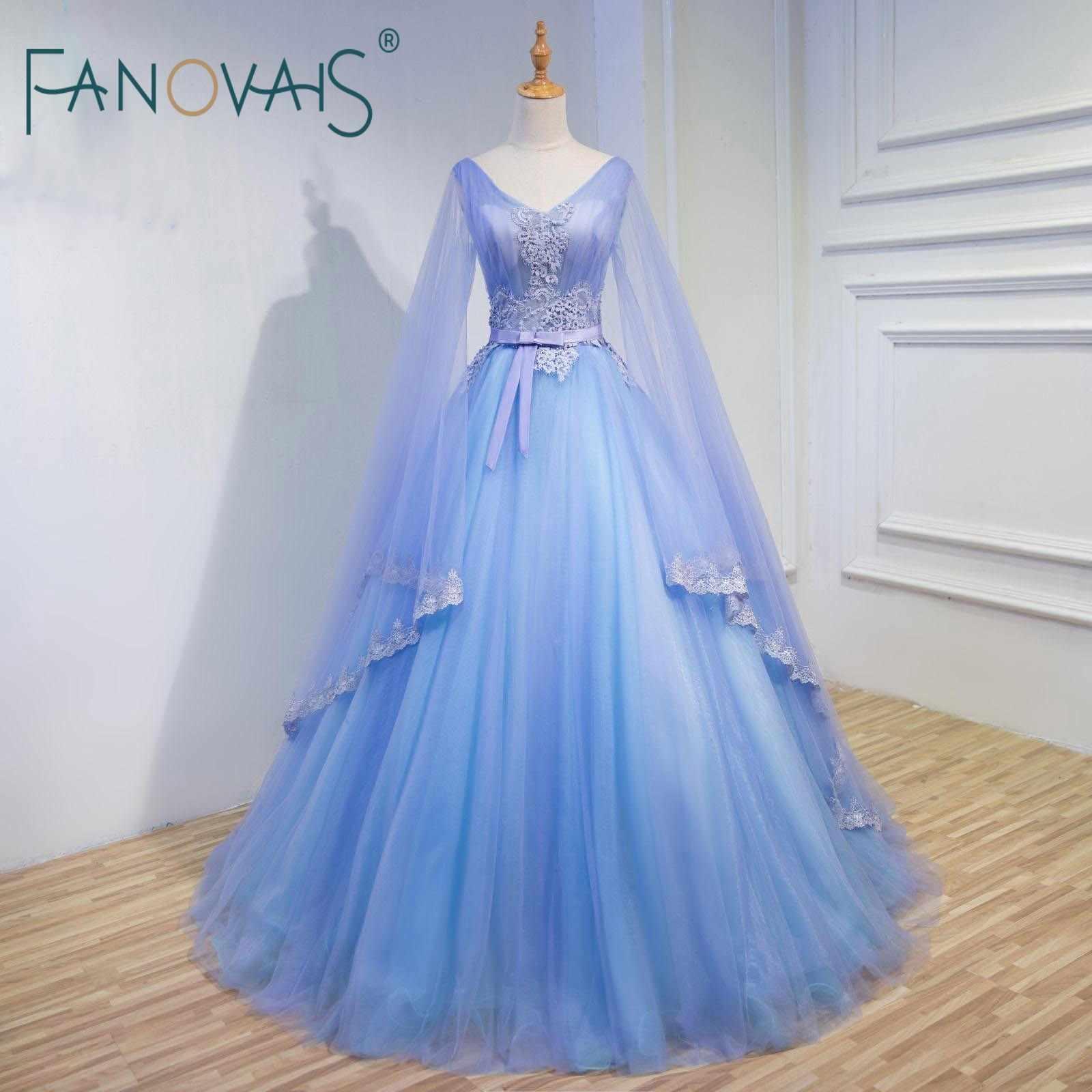 Pink Blue Wedding Dresses Long Sleeves 20