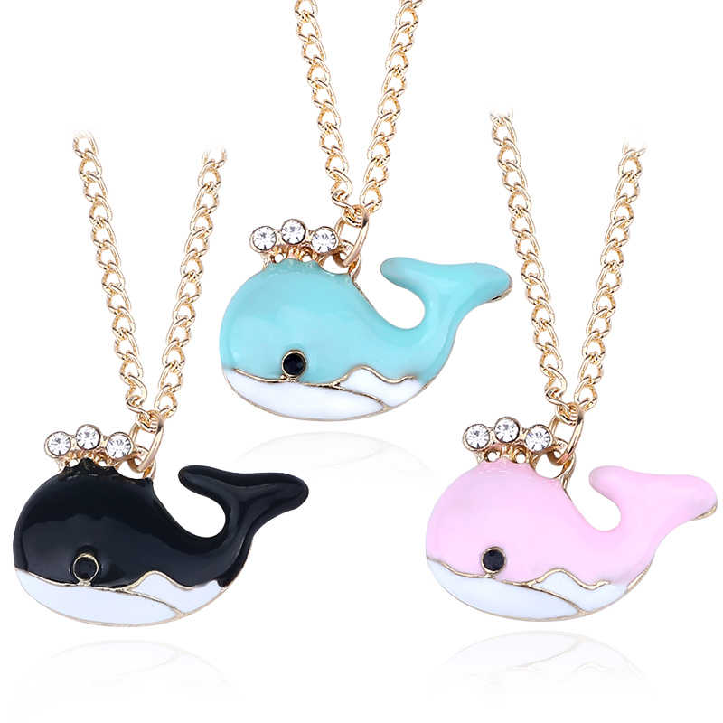 Colorful Rhinestone Whale Necklace Lovely Crystal Fish Animal Pendant Necklaces Personalized For Girls Women Child Cifts Jewelry