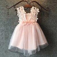 Neue Sommer Kinder Mädchen Niedlich Spitze Blumen Beiläufige Weste Ärmellose Tüll Kleid Prinzessin Kleider
