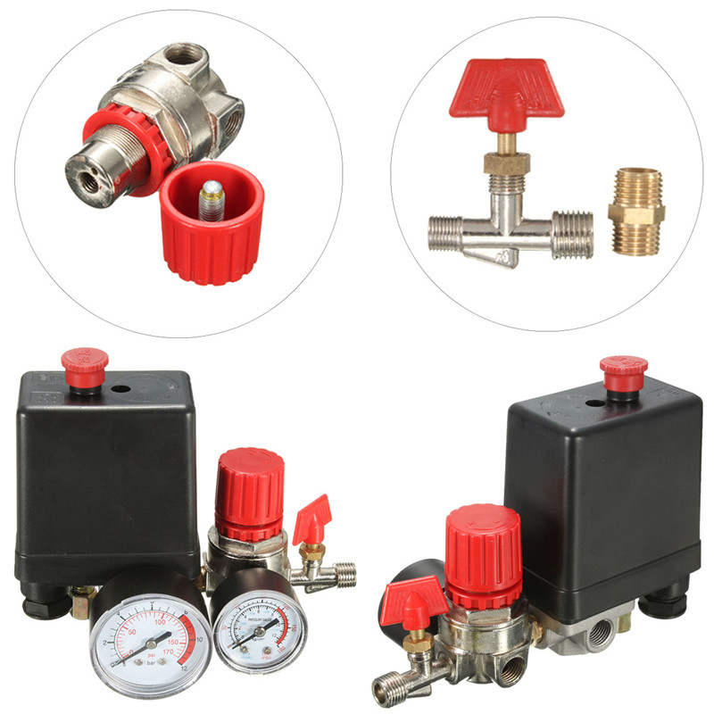 Heißer Verkauf Freies Verschiffen Druckluftkompressor Ventil Schalter Verteiler Relief Regler Gauges 7,25-125 PSI 240 V 15A