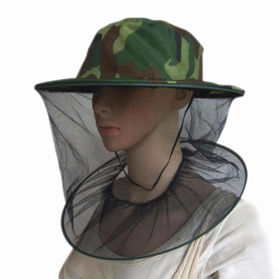 New Beekeeping Camouflage Hat Mosquito Bee Insect Net Veil Hat Face Head Neck Wrap Protector Beekeeping Tools