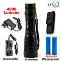 4000LM CREE XML T6 Lanterna LED De Alta Potência de Alumínio LEVOU Tocha Zoomable Lâmpada de Flash de Luz Da Tocha + Carregador + Bateria + coldre Titular