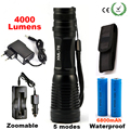 T6 High Power LED Flashlight 4000LM CREE XML Aluminum LED Torch Zoomable Flash Light Torch Lamp+Charger+ Battery+Holster Holder