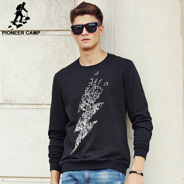 Pioneer Camp New Arrival Mens Hoodie Sweatshirt High quality Fashion lightning Print Pullover Hoodies Male wear 622164