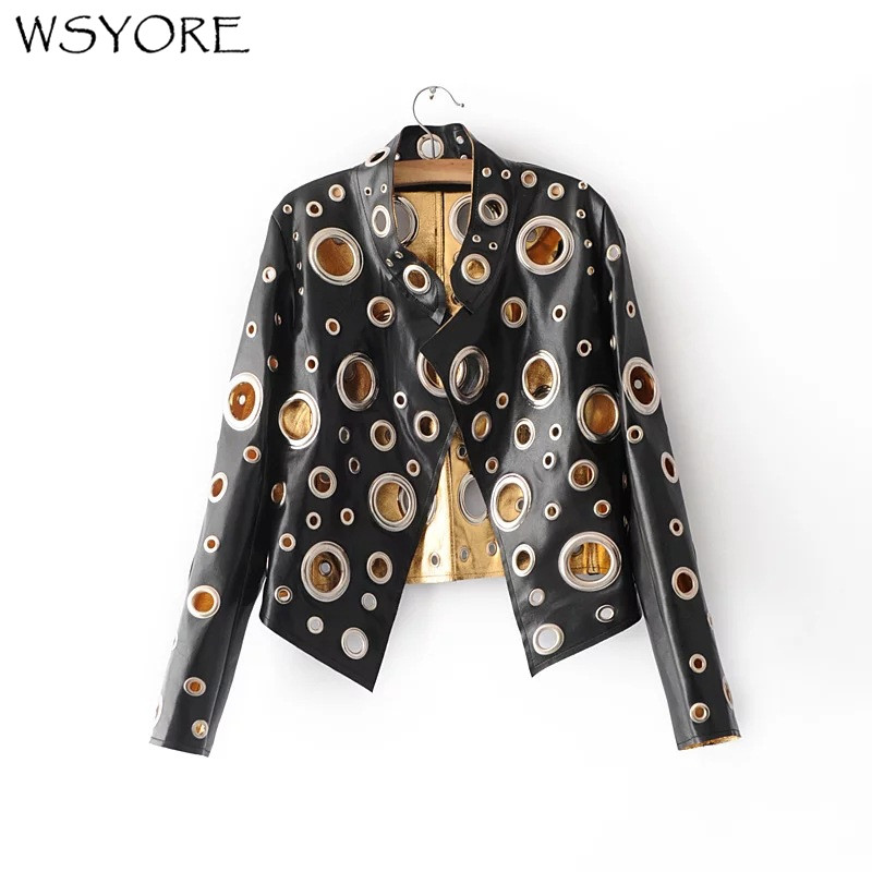WSYORE Punk Style Rock and Roll Black Gold Silver Color Faux   Leather   Jacket 2018 New Women Autumn Hollow Out PU Jacket NS327