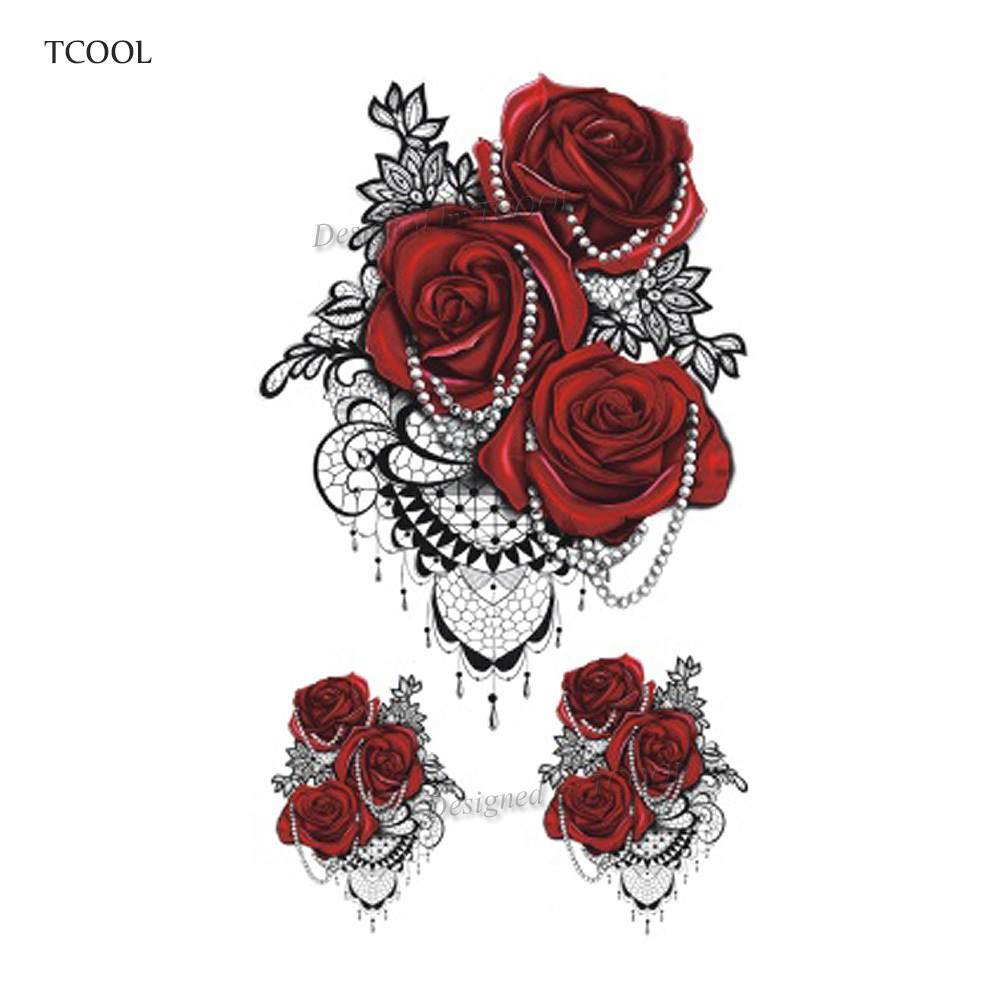 HXMAN Flower Temporary Tattoos Sticker Waterproof Fashion Women Arm Face Fake Body Art 10.5X6cm Kids Adult Hand Tatoo P-058