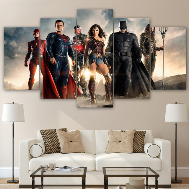 HD Printed justice league movie 5 piece canvas art Batman Canvas ...