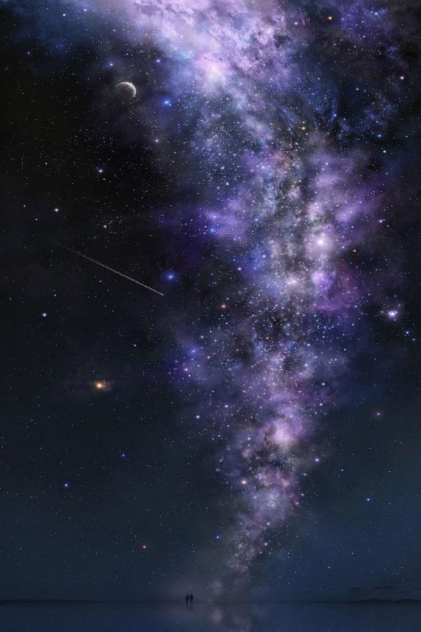 DIY рамка Млечный путь в небо пейзаж Фэнтези работа шелковой ткани плакат распечатать изображение для подарка