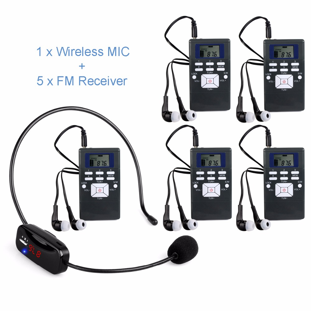 1 Wireless Microphone + 5 Receivers Portable Wireless Voice Transmission System For Wireless Meeting Teaching FM Radio Station wireless smoke fire detector for wireless for touch keypad panel wifi gsm home security burglar voice alarm system